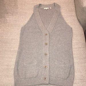 Vince light gray sweater vest, cotton